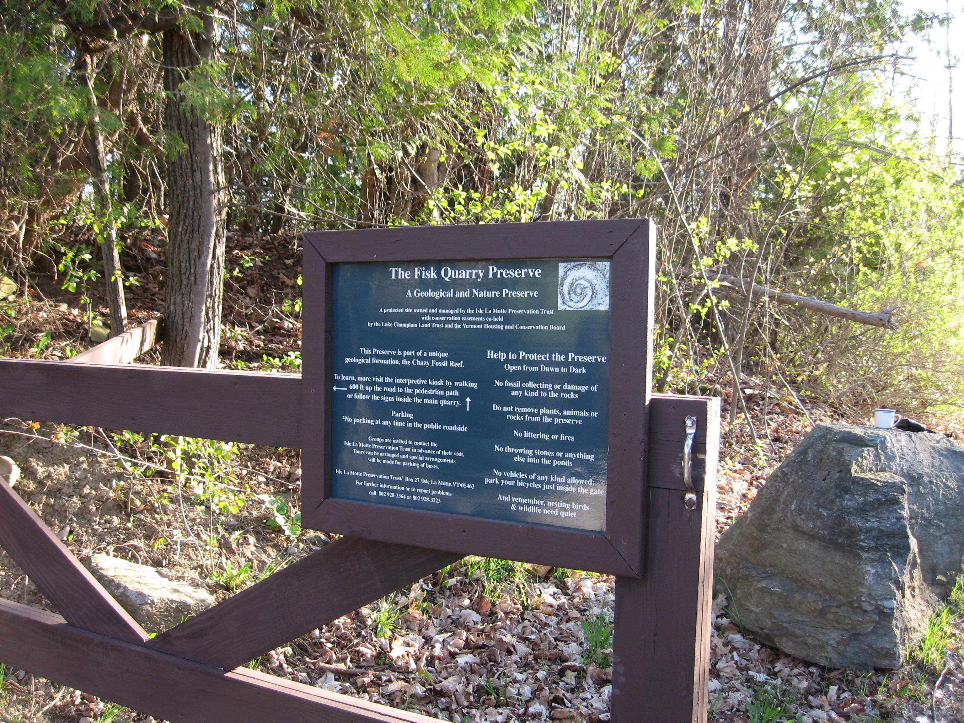 The Fisk Quarry Preserve Entrance